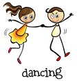 A girl and a boy dancing vector image vector image