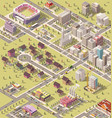 isometric low poly city vector image