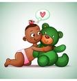 Little Indian girl hugging teddy bear green She vector image