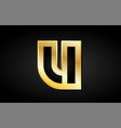 u gold golden letter logo icon design vector image