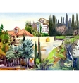 watercolor landscape with trees and houses vector image