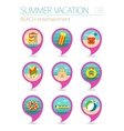 Beach entertainment pin map icon set Vacation vector image