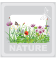 Green grass and flowers landscape natural vector image vector image