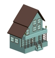 silhouette colorful house with three floors vector image