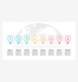 business infographics timeline with 8 light bulbs vector image