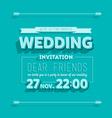 Wedding invitation blue typography vector image vector image