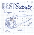 Burrito recipe on a notebook page vector image