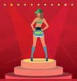attractive girl in sexy outfit dancing on stage vector image
