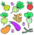doodle of vegetable set style cartoon vector image