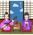 Two Geisha tea ceremony vector image