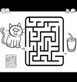 maze activity game with cat and milk vector image