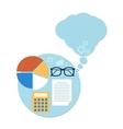 Calculator chart and glasses Education concept vector image