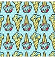 Seamless pattern with ice-cream on blue dotted vector image