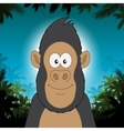 Cute cartoon gorilla in front of jungle background vector image