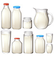 Milk and drink botles on white vector image