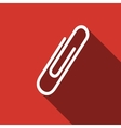 Paper Clip icon with long shadow vector image