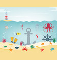 sea icons and symbols set sea animals nautical vector image