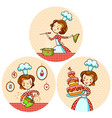 set with the girl cook vector image