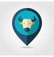 Spanish bull buffalo pin map icon Animal head vector image