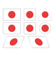 buttons with flag of Japan vector image vector image