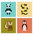assembly flat icons nature panda bear snake vector image