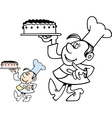 Confectioner carrying a cake vector image