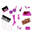 pink bags and shoes icons vector image