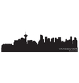 vancouver canada skyline detailed silhouette vector image
