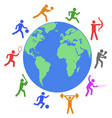 colorful athlete around the world vector image