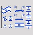 israel flag set collection of symbols flag vector image