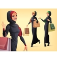 set of beautiful Muslim woman in different vector image