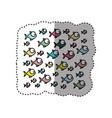 Sticker colorful pattern fish aquatic animal vector image