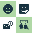 Social icons set collection of chat smile vector image
