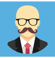 Bald Man with Mustache in Business Suit Ico vector image vector image