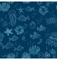 Hand drawn sea theme seamless background vector image