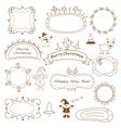 Set of doodle Christmas frames vector image