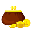 cartoon purse coin vector image vector image