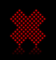 Red neon cancel cross on black vector image