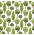 hand drawn seamless pattern with green doodle vector image