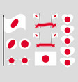 japan flag set collection of symbols flag vector image