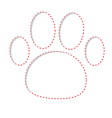 Paw print with red dash line Empty frame template vector image