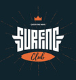 Surfing club - label badge or design elements vector image