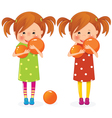 two girls twins with balls vector image