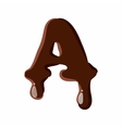 Letter A from latin alphabet made of chocolate vector image