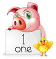 counting number one with pig and chick vector image