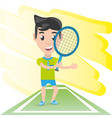 pretty woman athlete playing tennis vector image