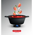 realistic tomato soup cooking concept vector image