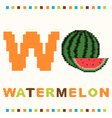 alphabet for children letter w and a watermelon vector image