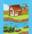 little hut by the river vector image