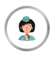 Stewardess icon in cartoon style isolated on white vector image